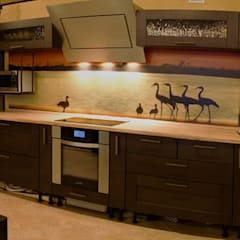 Кухня в гостиной.: Кухни в . Автор – Дизайн-студия интерьера и ландшафта 'Деметра'