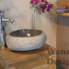 River stone vessel sink bathroom - natural stone sinks:  Bathroom by Lux4home™ Indonesia