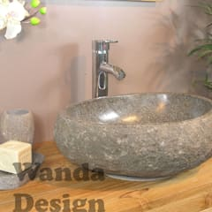 River stone vessel washbasin bathroom - natural stone washbasins: tropical Bathroom by Lux4home™ Indonesia