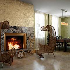 Дом в средиземноморском стиле.: Столовые комнаты в . Автор – Дизайн-студия интерьера и ландшафта 'Деметра',