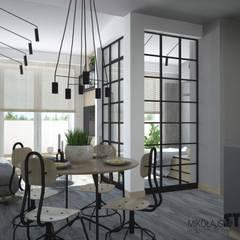 mieszkanie z otwartą przestrzenią: styl , w kategorii Jadalnia zaprojektowany przez MIKOŁAJSKAstudio
