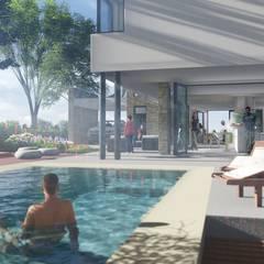 """Casa en """"Rifugio Nel Lago"""": Piletas de jardín de estilo  por Sinapsis Estudio"""