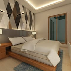 Bihani Residence and Interiors Modern style bedroom by Studio Rhomboid Modern Glass
