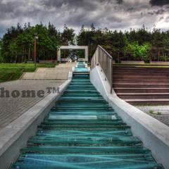Mozaika kamienna z otoczaków na zewnątrz - zielone otoczaki na siatce: styl , w kategorii Podwórko zaprojektowany przez Lux4home™