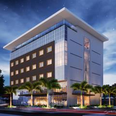 Perspectiva geral: Hotéis  por Marcos Assmar Arquitetura | Paisagismo