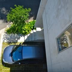 2コートハウス:仕切りつつ繋がるワンルームでネコと緑豊かに暮らす: Hirodesign.jpが手掛けたガレージです。