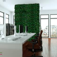 Rivestimento dell'intero ufficio con Wall forest Hedera: Pareti in stile  di Green Habitat s.r.l.