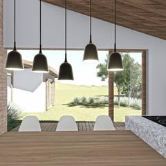 Casa da Fotógrafa -  Vista da cozinha: Armários e bancadas de cozinha  por ARAMADO arquitetura+interiores