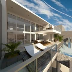 Casa T - Lomas del Mar: Terrazas de estilo  por bvtarquitecto