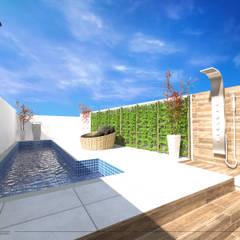 Área de Lazer moderna -  Área Gourmet: Piscinas de jardim  por Bloco Arquitetura e Engenharia