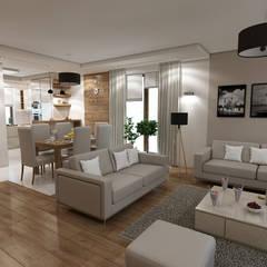 Wnętrze domu inspirowane stylem skandynawskim: styl , w kategorii Salon zaprojektowany przez MARENGO ARCHITEKTURA WNĘTRZ
