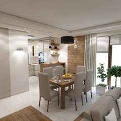 Wnętrze domu inspirowane stylem skandynawskim: styl , w kategorii Jadalnia zaprojektowany przez MARENGO ARCHITEKTURA WNĘTRZ