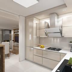 Wnętrze domu inspirowane stylem skandynawskim: styl , w kategorii Kuchnia na wymiar zaprojektowany przez MARENGO ARCHITEKTURA WNĘTRZ