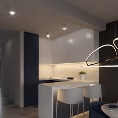 Salon apartamentu 120m2 w Błękicie: styl , w kategorii Kuchnia na wymiar zaprojektowany przez Ale design Grzegorz Grzywacz