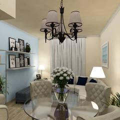 Diseño de Sala/Comedor de una Residencia en Mexicali: Comedores de estilo clásico por Citlali Villarreal Interiorismo & Diseño