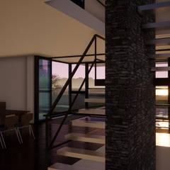CASA de 3 PLANTAS: Escaleras de estilo  por Sinapsis Estudio