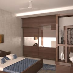 Display, wardrobe and Bed: modern Bedroom by NVT Quality Build solution