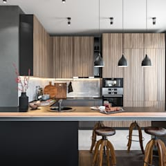 minimalistic Kitchen by Студия архитектуры и дизайна Дарьи Ельниковой