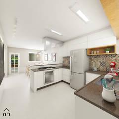 Cozinha Integrada: Armários e bancadas de cozinha  por Luciane Veiga Arquitetura