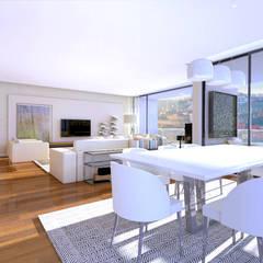 Edifício de luxo 'Douro Crystal Gardens' - 28 Apartamentos, Palácio de Cristal - PORTO: Salas de estar  por SHI Studio, Sheila Moura Azevedo Interior Design
