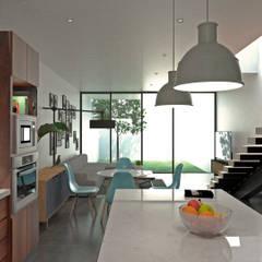 Loft JBS: Cocinas equipadas de estilo  por Heftye Arquitectura