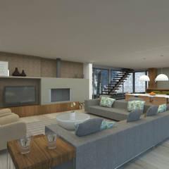 Sala - Casa no Minho (poente), Gerês - SHI Studio Interior Design: Salas de estar  por SHI Studio, Sheila Moura Azevedo Interior Design
