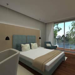 Quarto - Casa no Minho (poente), Gerês - SHI Studio Interior Design: Quartos pequenos  por SHI Studio, Sheila Moura Azevedo Interior Design