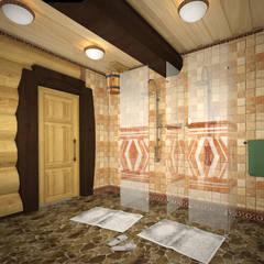 Душевая в бане: Ванные комнаты в . Автор – Iv-Eugenie