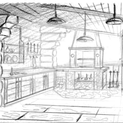 Эскиз зоны барбекю для проекта бани: Tерраса в . Автор – Iv-Eugenie