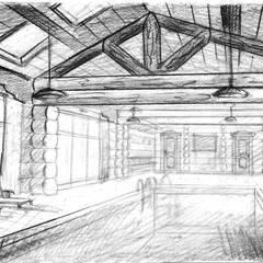 Эскиз помещения с бассейном для проекта бани: Бассейн в . Автор – Iv-Eugenie