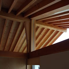 Gable roof by 丸菱建築計画事務所 MALUBISHI ARCHITECTS, Scandinavian Solid Wood Multicolored