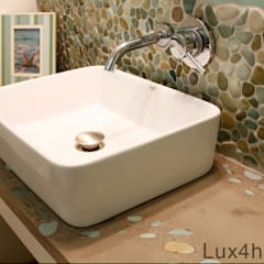 Green pebble tile wall bathroom : mediterranean Bathroom by Lux4home™ Indonesia