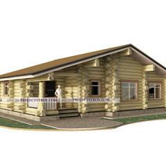 Одноэтажный дом в диком срубе : Деревянные дома в . Автор – Projectstroy