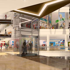 RENDERS EXTERIORES PARA CIUDAD EMPRESARIAL EN BOLIVIA : Shoppings y centros comerciales de estilo  por Javier Figueroa 3D