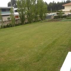 Moradia em Silva Escura: Jardins  por Viveiros da Boa Nova, Lda