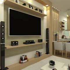 Vista da Sala de Estar Integrada: Salas de estar  por Multiplanos Arquitetura