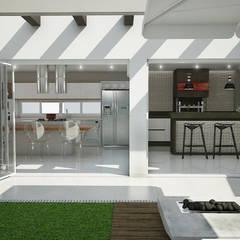 Área externa: Armários e bancadas de cozinha  por Rodrigo Westerich - Design de Interiores