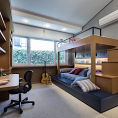 Boys Bedroom by ABHP ARQUITETURA, Modern Wood Wood effect