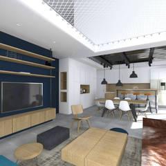 Vue sur séjour. Double hauteur avec mise en place d'un filet d'habitation.: Salon de style  par Lionel CERTIER - Architecture d'intérieur