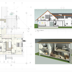 Planta Alta, Corte y Corte en Perspectiva.: Casas de madera de estilo  por Eisen Arquitecto