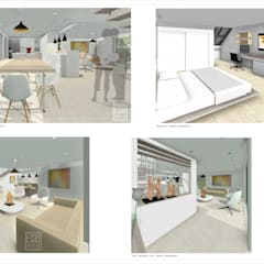 Vistas internas. Hall, Salon, Comedor-Barra-Cocina, Habitaciones.: Casas de madera de estilo  por Eisen Arquitecto