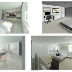 Vistas internas, Habitaciones.: Casas de madera de estilo  por Eisen Arquitecto