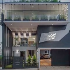Striking House Front Elevation: 40×60, 4BHK:  Houses by Ashwin Architects In Bangalore