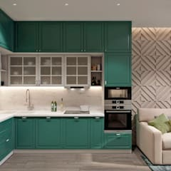 Квартира 80 кв.м. в современном стиле в ЖК «Квартал 38А»: Кухни в . Автор – Студия архитектуры и дизайна Дарьи Ельниковой