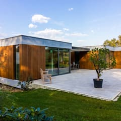 achtergevel overhoeks:  Villa door 3d Visie architecten