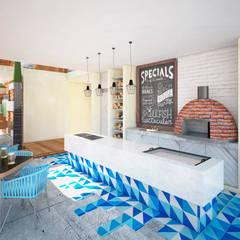 CLUB DE PLAYA SIRENA: Cocinas de estilo topical por Art.chitecture, Taller de Arquitectura e Interiorismo 📍 Cancún, México.