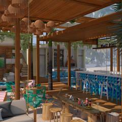 CLUB DE PLAYA SIRENA: Comedores de estilo topical por Art.chitecture, Taller de Arquitectura e Interiorismo 📍 Cancún, México.