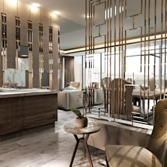 Elegancia Atemporal, Departamento Be Towers Cancún.: Pasillos y recibidores de estilo  por Art.chitecture, Taller de Arquitectura e Interiorismo 📍 Cancún, México.