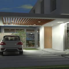 Cochera semicubierta - vista nocturna: Garajes de estilo  por Arquitectura Bur Zurita