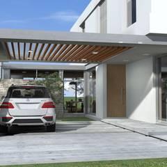 Cochera semicubierta : Garajes de estilo  por Arquitectura Bur Zurita